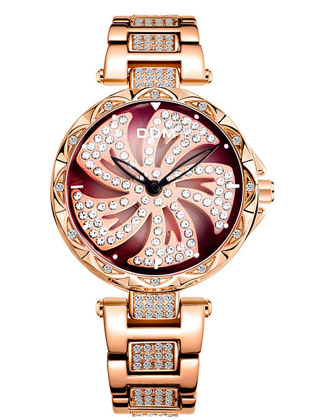 DOM Women's Quartz Watches Quartz Stylish Glitter Sparkle Water Resistant / Waterproof Analog Black Purple Gold / Stainless Steel