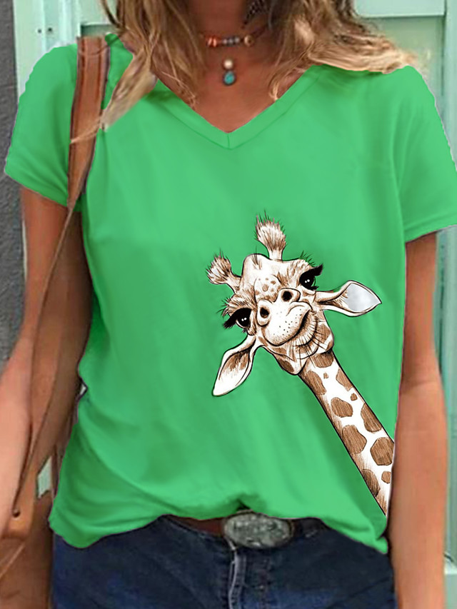 Women's T-shirt Animal Giraffe Tops V Neck Daily Summer Green Gray White 2 S M L XL 2XL 3XL