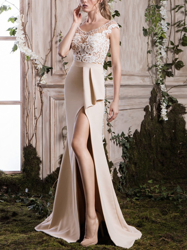 Sheath / Column Floral Sexy Engagement Formal Evening Dress Jewel Neck Sleeveless Sweep / Brush Train Lace Satin with Split Embroidery 2020