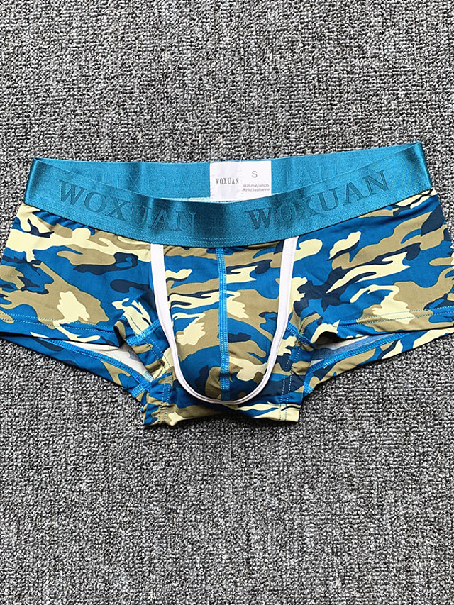 Men's Print Briefs Underwear Low Waist Blue Yellow Green S M L