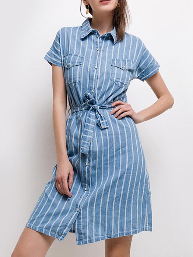 Women's Denim Shirt Dress Knee Length Dress Light Blue Short ...