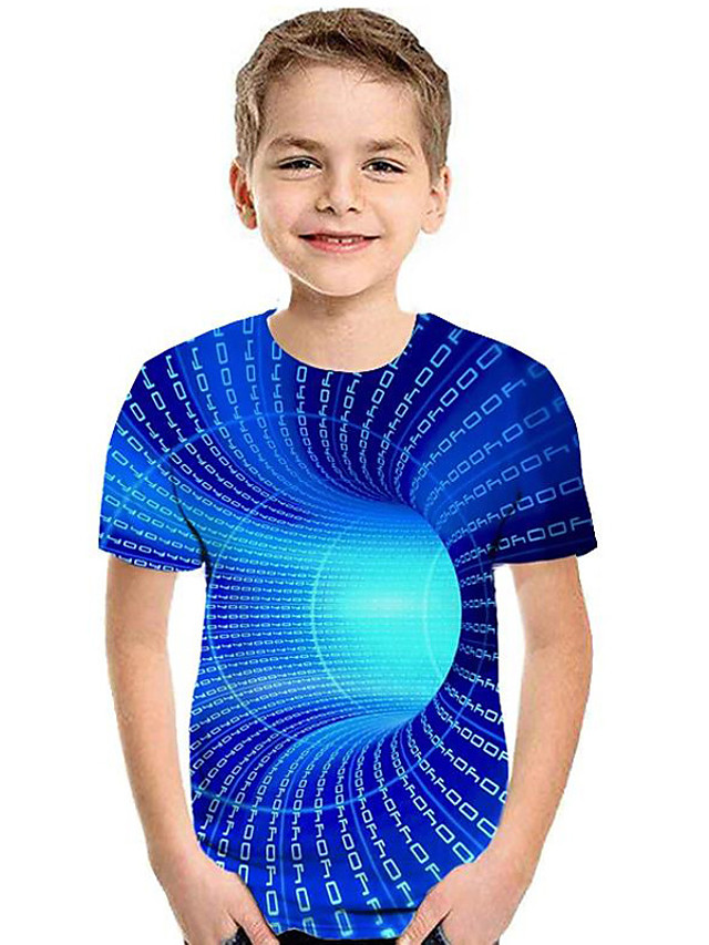 Kids Boys' Active Basic Rainbow Print Short Sleeve Tee Blue
