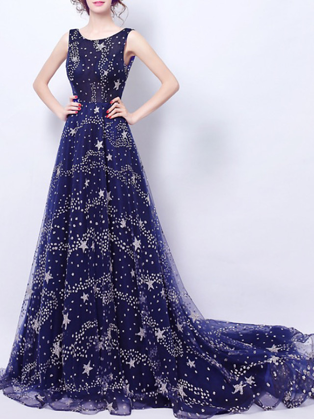 A-Line Luxurious Sparkle Engagement Formal Evening Dress Jewel Neck Sleeveless Court Train Tulle with Sequin 2020
