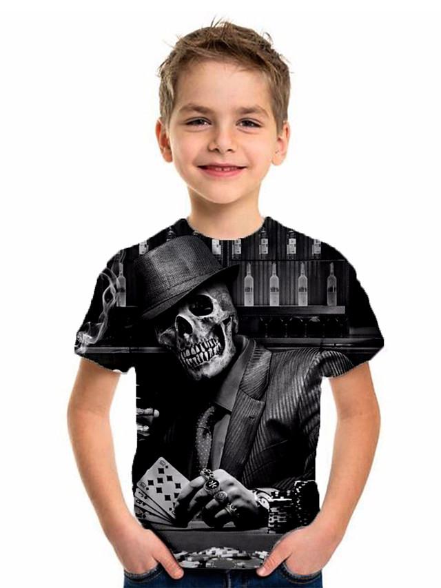 Kids Boys' Basic Holiday Jacquard Short Sleeve Tee Black