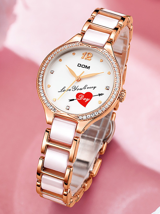 DOM Women's Quartz Watches Quartz Heart Modern Style Casual Water Resistant / Waterproof Analog White Blushing Pink / Ceramic