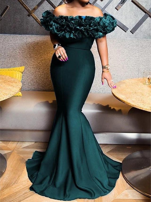 Mermaid / Trumpet Elegant Sexy Engagement Formal Evening Dress Off Shoulder Short Sleeve Sweep / Brush Train Stretch Satin with Sleek 2020