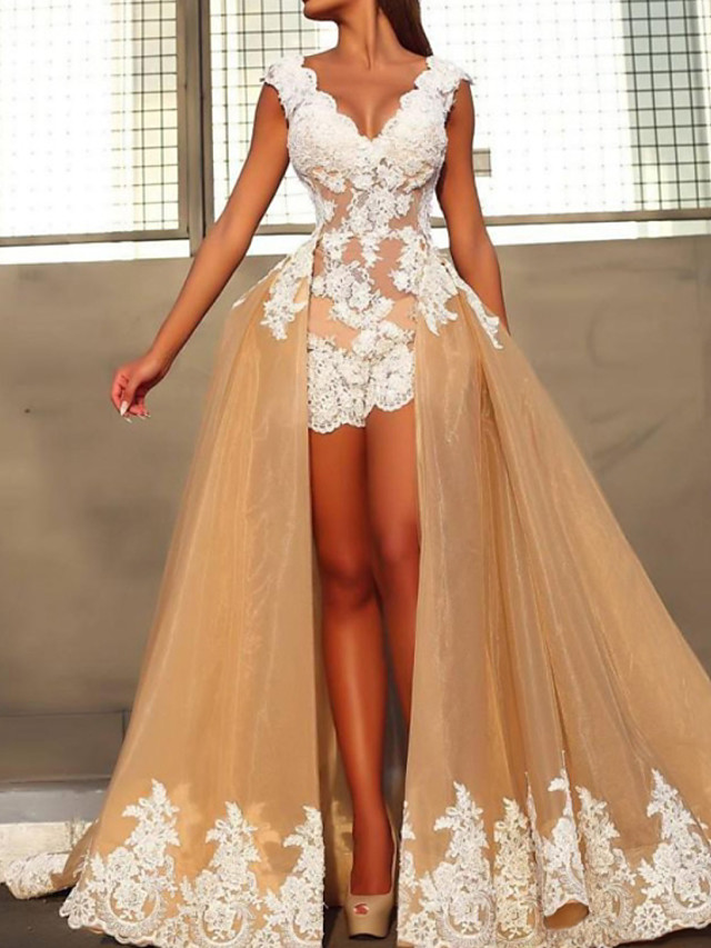 A-Line Floral Sexy Engagement Prom Dress V Neck Sleeveless Detachable Organza with Overskirt Appliques 2020