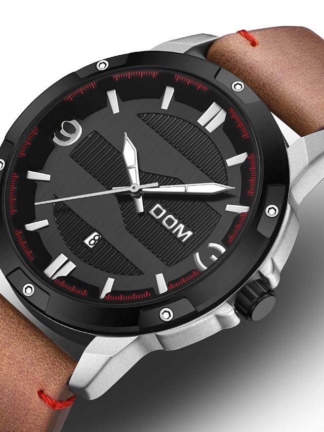 DOM Men's Sport Watch Quartz Vintage Style Casual Water Resistant / Waterproof Leather Black / Brown Analog - Digital - Black / Silver Black / Orange Brown / Noctilucent