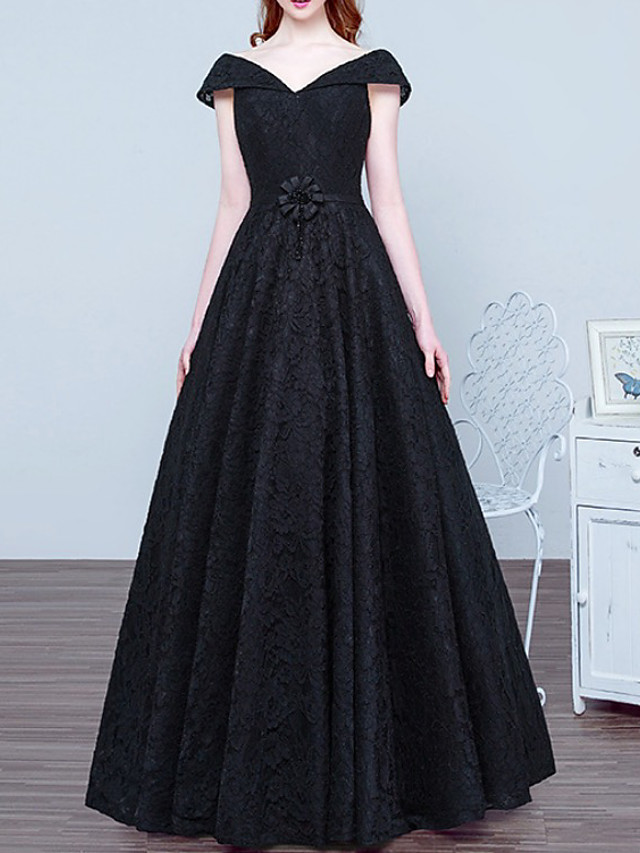 A-Line Elegant Vintage Prom Formal Evening Dress V Neck Short Sleeve Floor Length Lace with Sash / Ribbon 2020