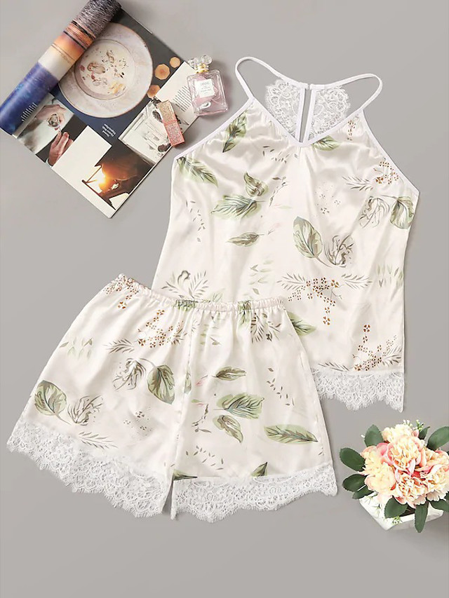 Women's Lace Mesh Print Suits Nightwear Geometric Patchwork Embroidered White S M L