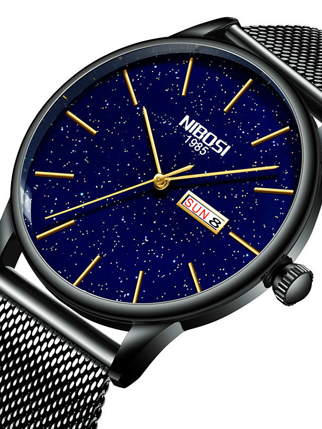 NIBOSI Men's Steel Band Watches Quartz Sporty Casual Water Resistant / Waterproof Analog - Digital Black+Gloden White+Golden Blue / Stainless Steel / Calendar / date / day / Noctilucent