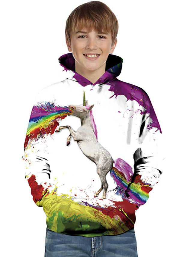 Kids Toddler Boys' Active Basic Unicorn Geometric Color Block Animal Print Long Sleeve Hoodie & Sweatshirt White