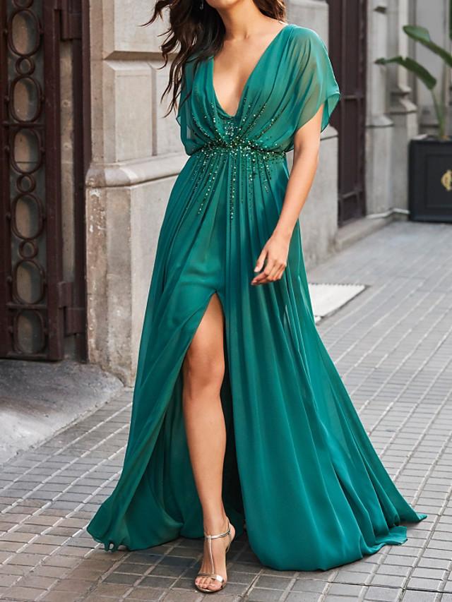 A-Line Elegant Sparkle Engagement Formal Evening Dress V Neck Short Sleeve Sweep / Brush Train Chiffon with Beading Split 2020