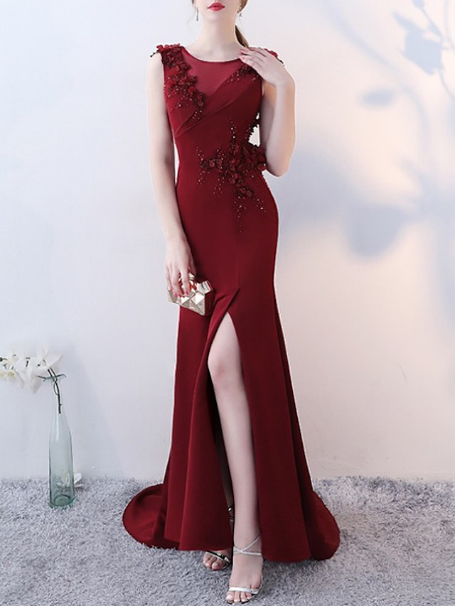 Mermaid / Trumpet Elegant Luxurious Engagement Formal Evening Dress Illusion Neck Sleeveless Court Train Spandex with Beading Appliques 2020