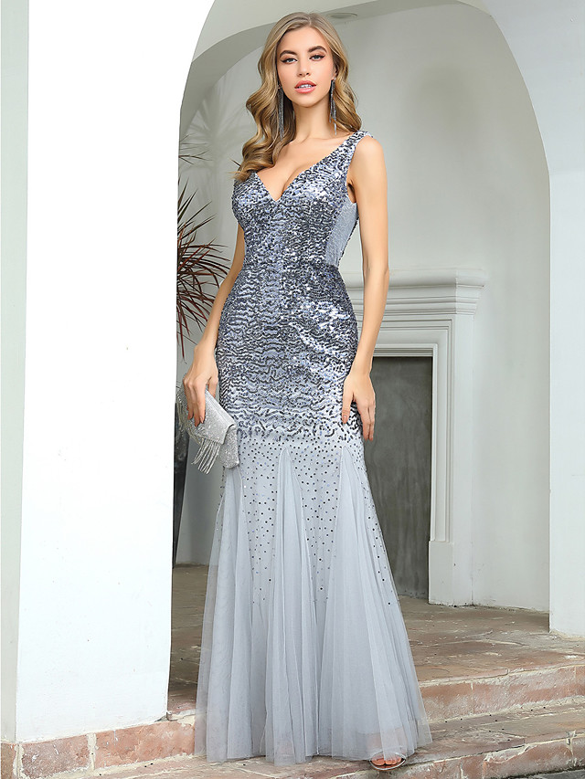 Mermaid / Trumpet Sexy Sparkle Wedding Guest Formal Evening Dress V Neck Sleeveless Floor Length Tulle Sequined with Sequin 2020