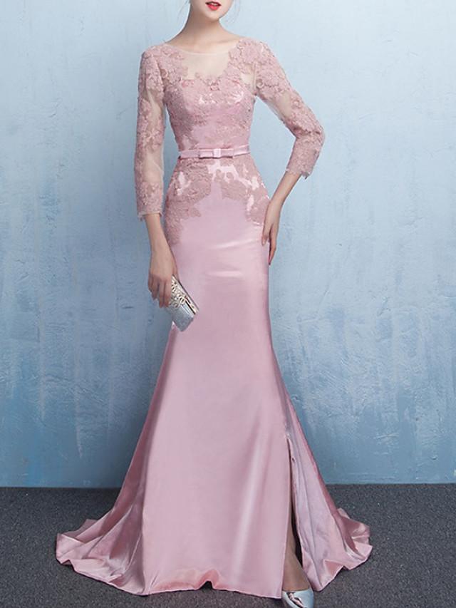Mermaid / Trumpet Elegant Floral Engagement Formal Evening Dress Illusion Neck 3/4 Length Sleeve Sweep / Brush Train Lace Satin with Split 2020