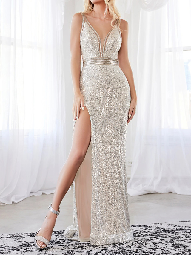Sheath / Column Sexy Sparkle Engagement Formal Evening Dress V Neck Sleeveless Floor Length Sequined with Sash / Ribbon Split 2020