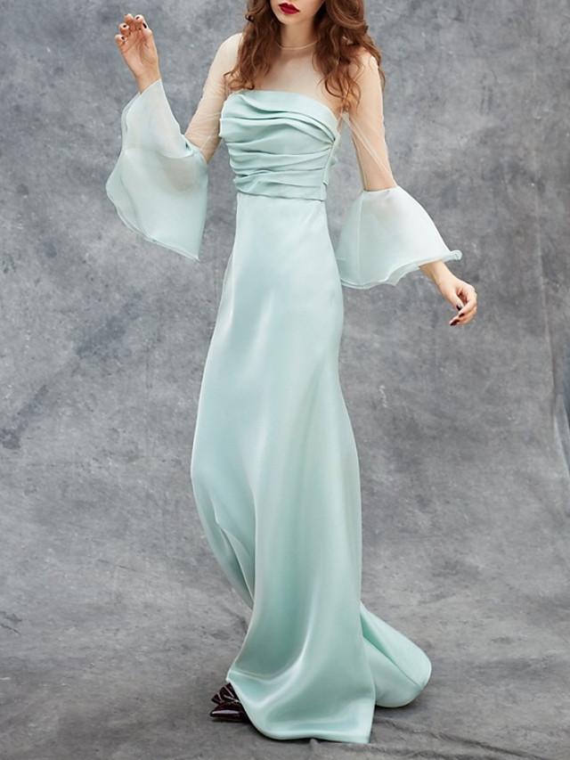 Sheath / Column Elegant Celebrity Style Engagement Formal Evening Dress Illusion Neck Long Sleeve Sweep / Brush Train Satin with Ruched 2020