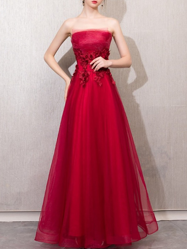 A-Line Elegant Luxurious Engagement Formal Evening Dress Strapless Sleeveless Floor Length Tulle with Appliques 2020