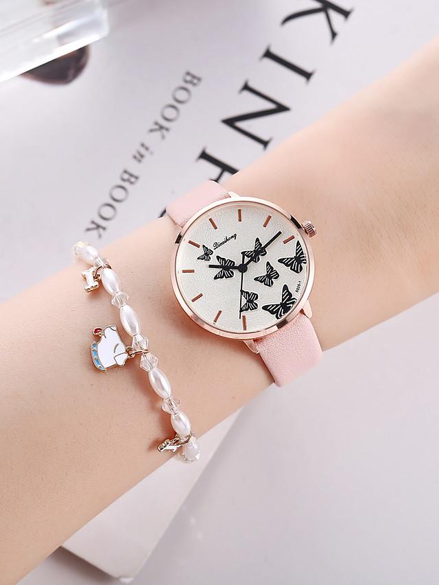 Women's Quartz Watches Quartz Butterly Style Stylish Fashion Chronograph Analog Blushing Pink / PU Leather