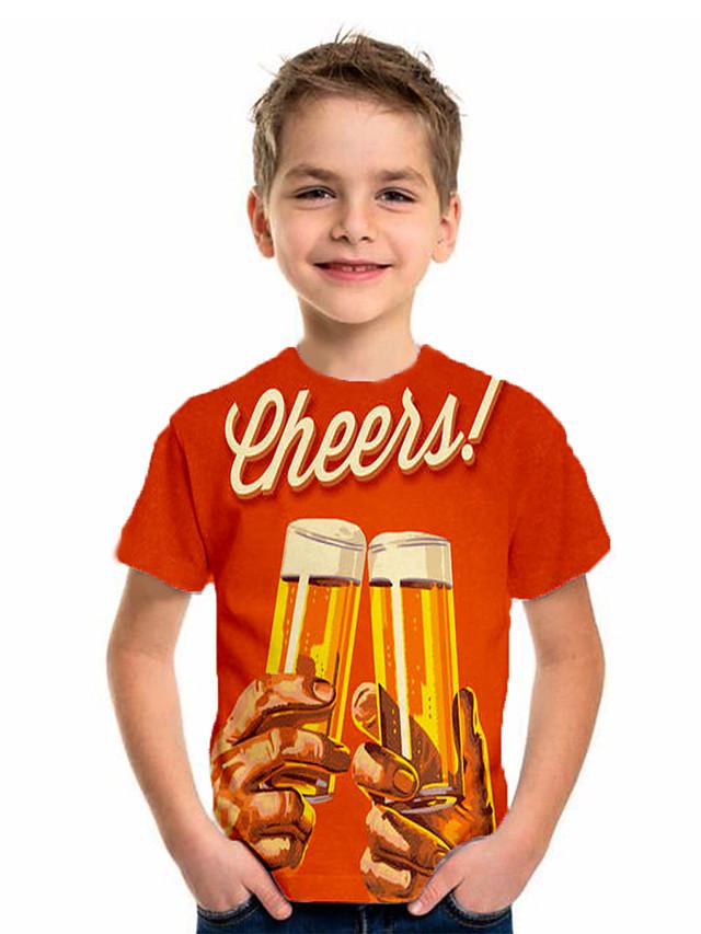 Kids Boys' Basic Holiday Geometric Print Short Sleeve Tee Orange