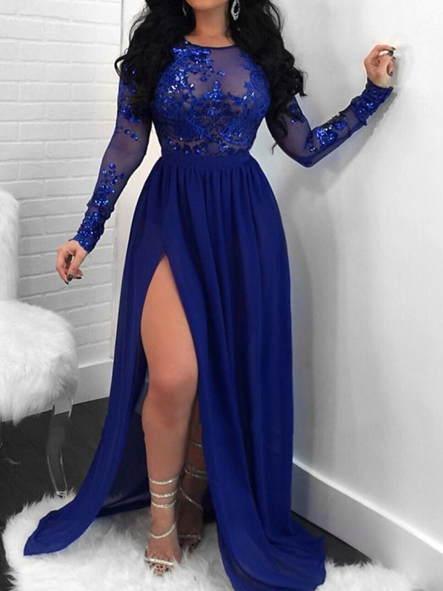 Sheath / Column Beautiful Back Sexy Engagement Formal Evening Dress Illusion Neck Long Sleeve Sweep / Brush Train Chiffon Lace with Split Appliques 2020