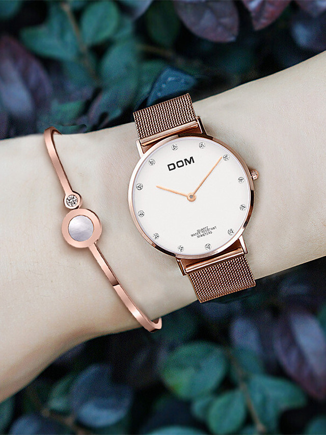 DOM Quartz Watches Quartz Modern Style Stylish Casual Water Resistant / Waterproof Stainless Steel Genuine Leather Analog - Black Gold Silver