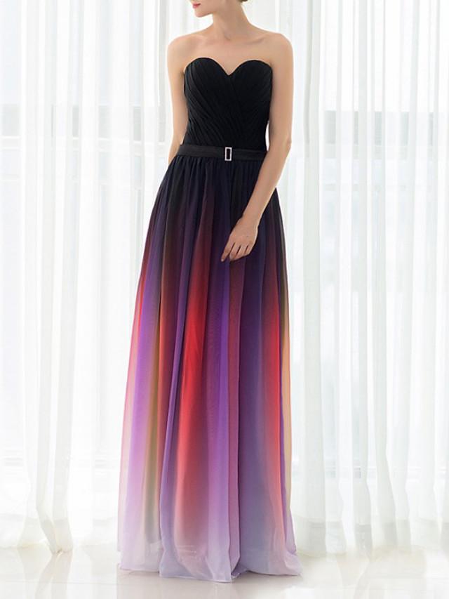 Sheath / Column Color Block Elegant Wedding Guest Formal Evening Dress Strapless Sleeveless Floor Length Chiffon with Sash / Ribbon 2020
