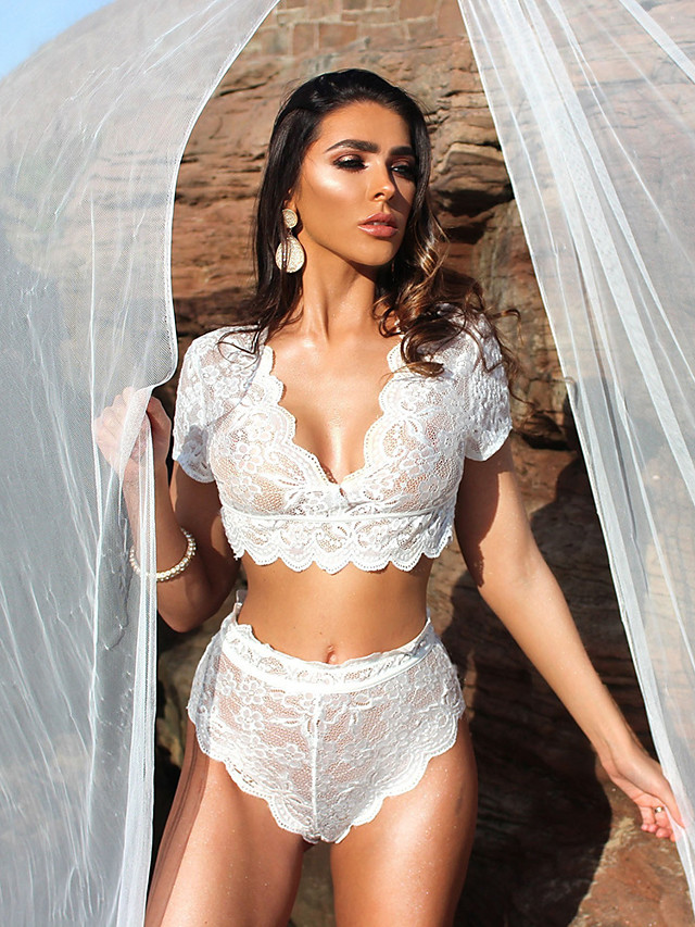 Women's Lace Mesh Suits Nightwear Jacquard Solid Colored Embroidered White / Black S M L