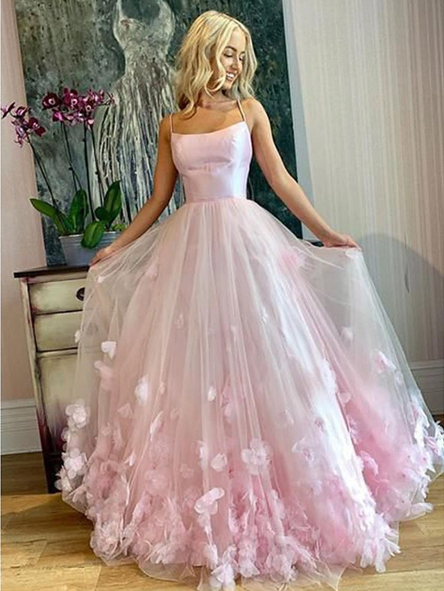 A-Line Elegant Floral Engagement Prom Dress Spaghetti Strap Sleeveless Floor Length Tulle with Pleats Appliques 2020