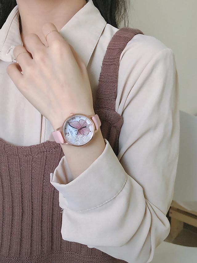 Women's Quartz Watches Quartz Butterly Style New Arrival Chronograph PU Leather Black / Silver / Grey Analog - Black Blue Blushing Pink