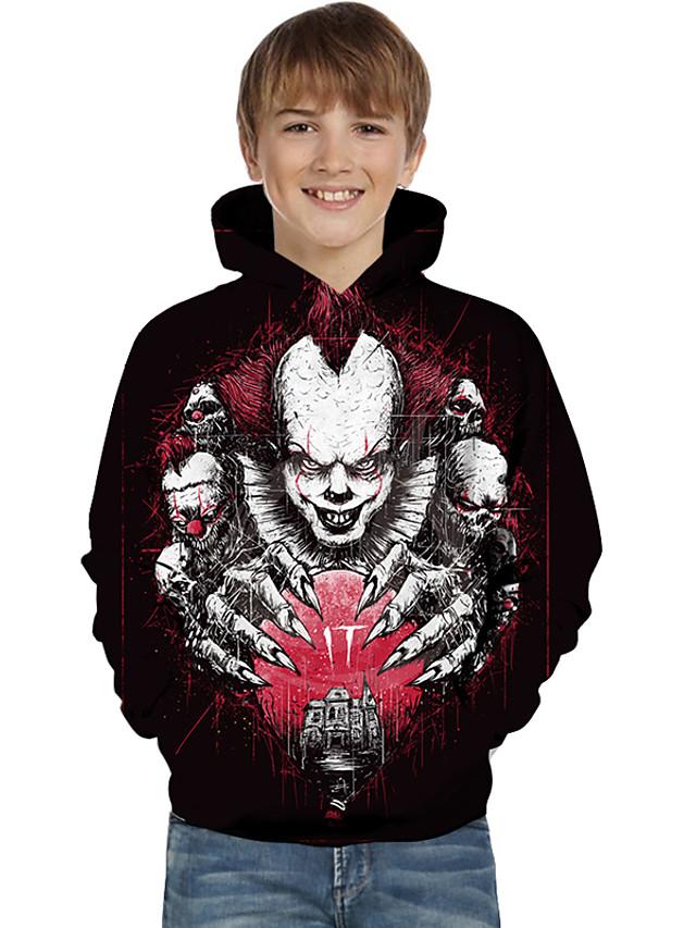 Kids Toddler Boys' Active Basic Geometric Color Block Print Long Sleeve Hoodie & Sweatshirt Black