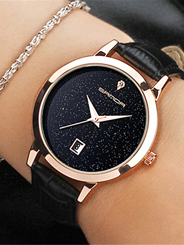 Women's Quartz Watches Quartz Stylish Fashion Casual Watch PU Leather Black / Pink Analog - Black Red Blushing Pink One Year Battery Life
