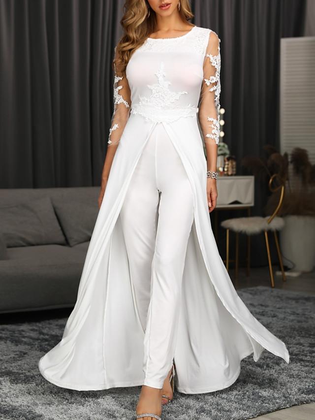 Jumpsuits Elegant Floral Engagement Formal Evening Dress Jewel Neck 3/4 Length Sleeve Floor Length Chiffon with Appliques 2020