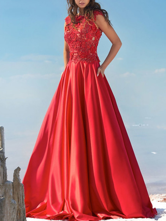 A-Line Beautiful Back Floral Engagement Formal Evening Dress Jewel Neck Sleeveless Sweep / Brush Train Lace Satin with Pleats Appliques 2020