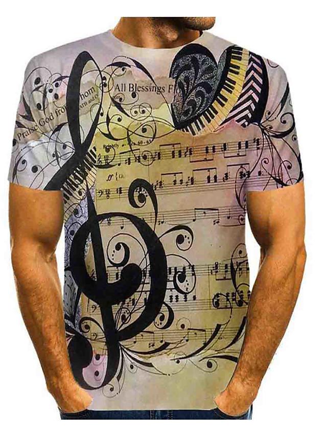 Men's Daily T-shirt Graphic Print Short Sleeve Tops Basic Round Neck Khaki