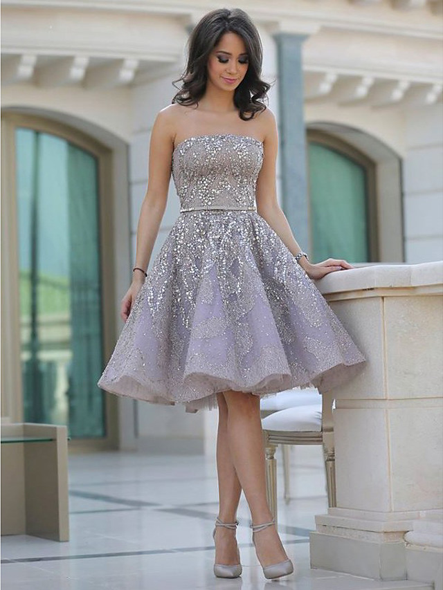 A-Line Sexy Sparkle Homecoming Cocktail Party Dress Strapless Sleeveless Knee Length Tulle with Beading Sequin 2020