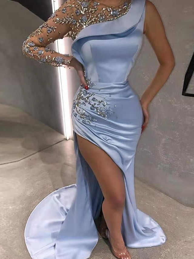 Mermaid / Trumpet Luxurious Sexy Engagement Formal Evening Dress Illusion Neck Long Sleeve Sweep / Brush Train Satin with Beading Split Appliques 2020