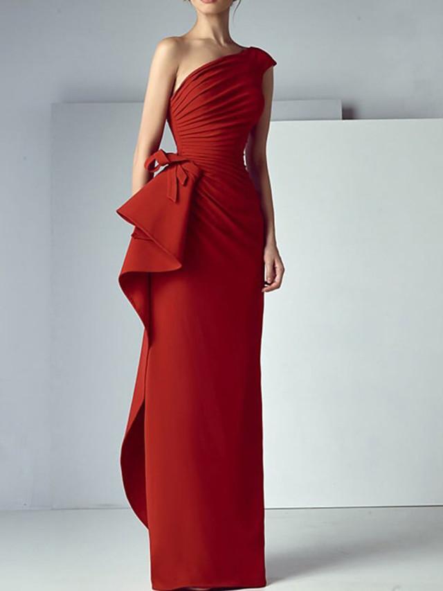 Sheath / Column Elegant Beautiful Back Engagement Formal Evening Dress One Shoulder Sleeveless Floor Length Satin with Draping 2020