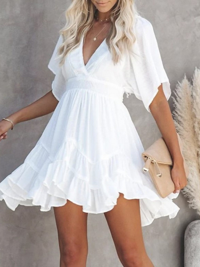 Women's Swing Dress Short Mini Dress White Short Sleeve Summer V Neck Hot Casual 2021 S M L XL XXL 3XL