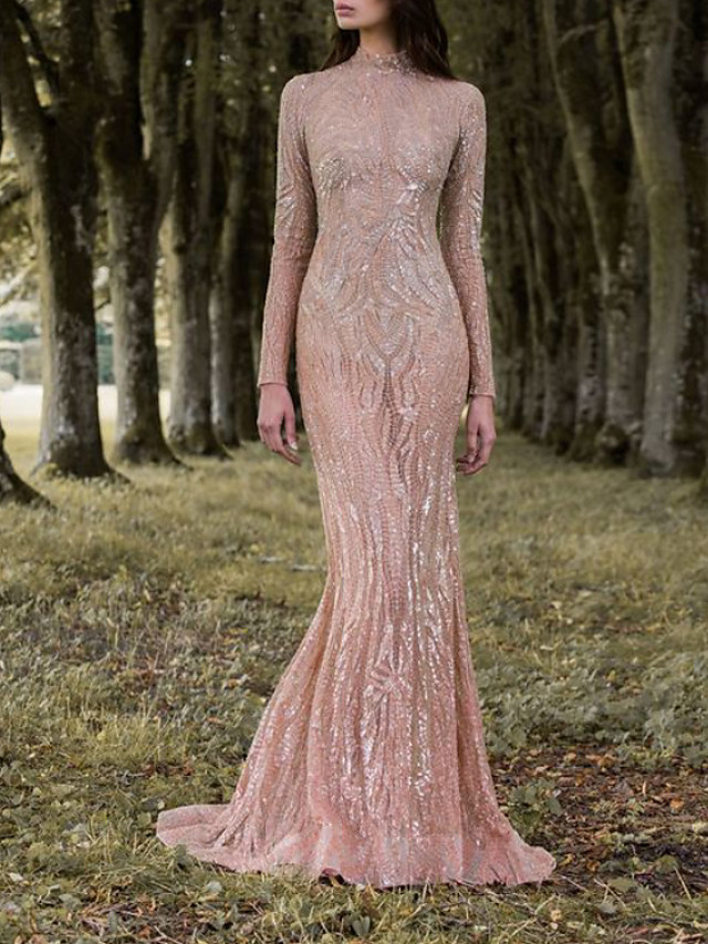 Mermaid / Trumpet Elegant Sparkle Engagement Formal Evening Dress High Neck Long Sleeve Sweep / Brush Train Lace with Sequin 2020