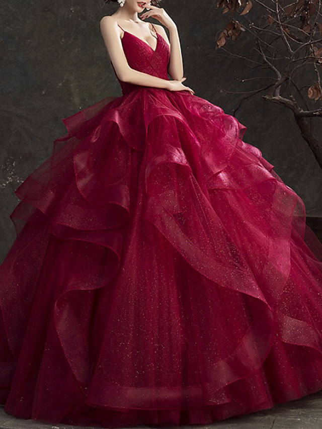 Ball Gown Glittering Luxurious Quinceanera Engagement Dress V Neck Sleeveless Floor Length Tulle with Tier 2020