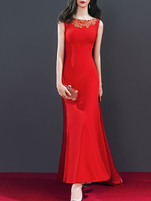 Mermaid / Trumpet Elegant Minimalist Engagement Formal Evening Dress Jewel Neck Sleeveless Floor Length Spandex with Sequin Appliques 2020