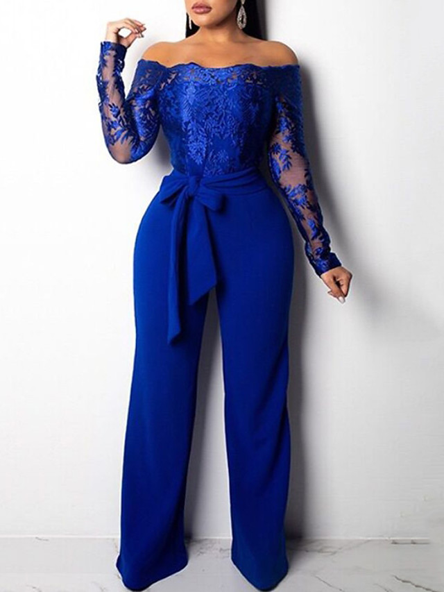 Jumpsuits Elegant Floral Engagement Formal Evening Dress Off Shoulder Long Sleeve Floor Length Lace Satin with Sash / Ribbon Embroidery 2020