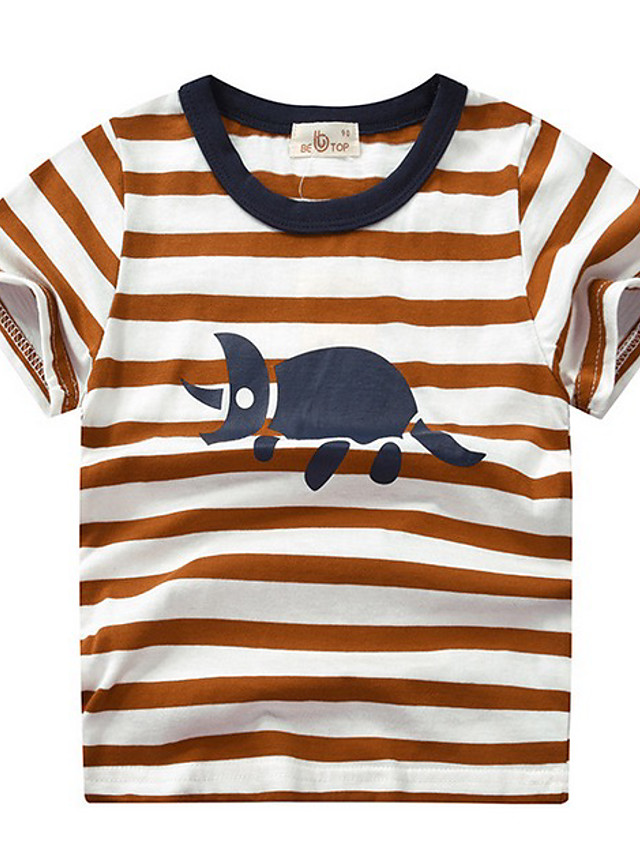 Kids Boys' Street chic Striped Animal Short Sleeve Tee Red