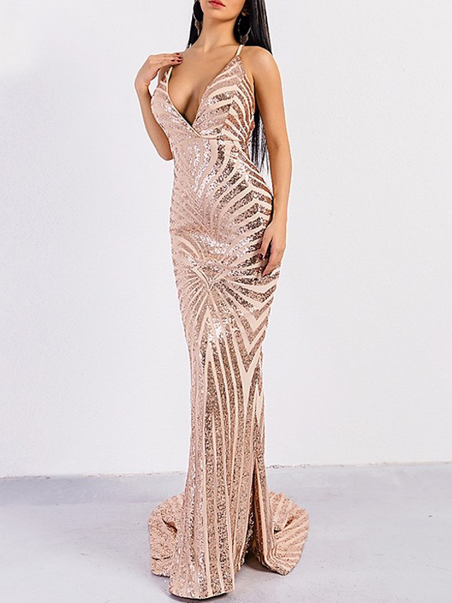 Mermaid / Trumpet Beautiful Back Sexy Prom Formal Evening Dress Spaghetti Strap Sleeveless Sweep / Brush Train Spandex with Sequin 2020
