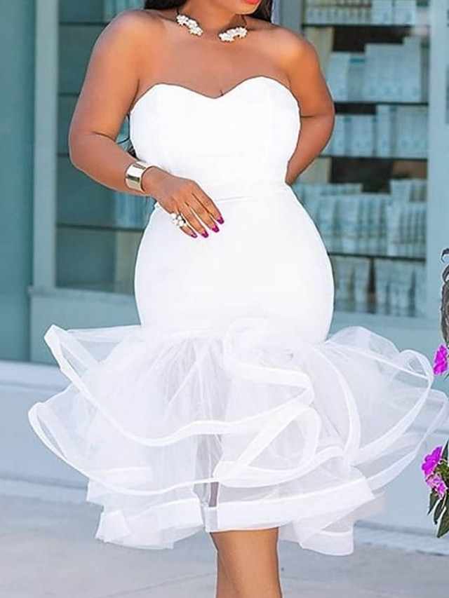Mermaid / Trumpet Sexy Plus Size Homecoming Prom Dress Sweetheart Neckline Sleeveless Tea Length Satin with Tier 2020