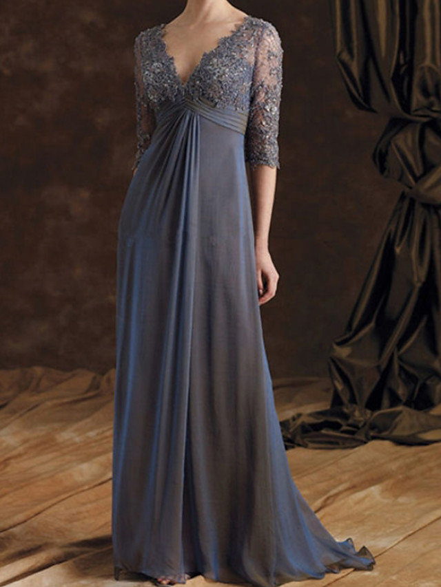 A-Line Mother of the Bride Dress Elegant V Neck Floor Length Chiffon Lace 3/4 Length Sleeve with Embroidery Ruching 2020