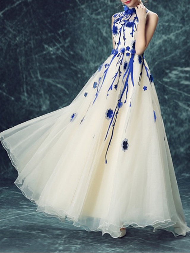 A-Line Elegant Luxurious Engagement Formal Evening Dress High Neck Sleeveless Floor Length Organza with Appliques 2020