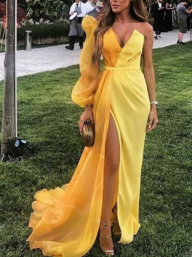 Sheath / Column Minimalist Sexy Party Wear Formal Evening Dress V Neck Long Sleeve Sweep / Brush Train Satin with Split 2020